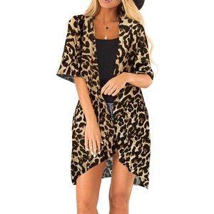 Leopard Print Loose Kimono Casual Beach Cover up